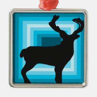 Deer silhouette square holiday ornament