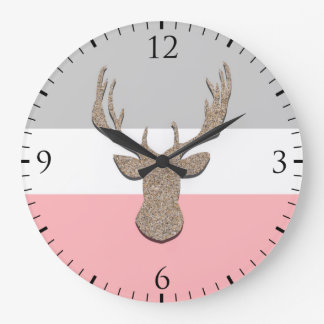 Deer Silhouette, Stag On Blue and Grey Large Clock