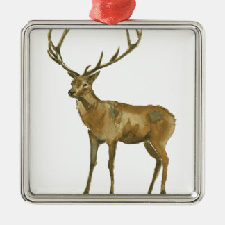Deer Silver-Colored Square Ornament
