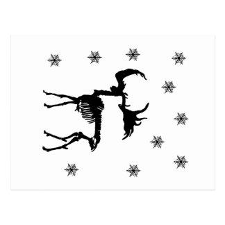 Deer Skeleton and snowflakes Postcard