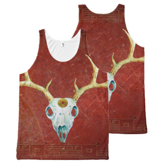Deer Skull Antlers Ox Blood Gold Native American