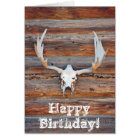 Deer skull birthday greeting card