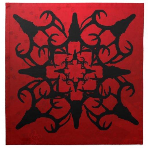 Deer Skull Design in Black and Red Cloth Napkin