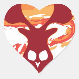 Deer Skull Heart Sticker