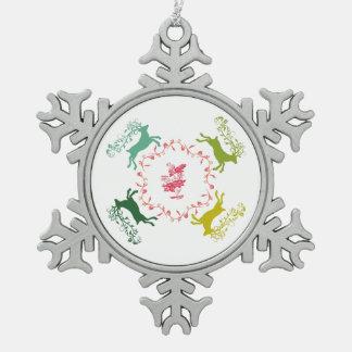 Deer Snowflake Pewter Christmas Ornament