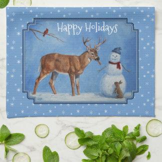 Deer & Snowman Christmas Snowflakes Kitchen Towel