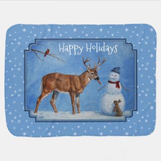 Deer & Snowman Christmas Snowflakes Swaddle Blankets