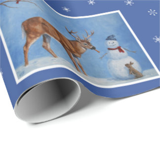 Deer & Snowman Christmas Snowflakes Wrapping Paper