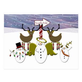 Deer Snowmen North Pole Christmas Postcard