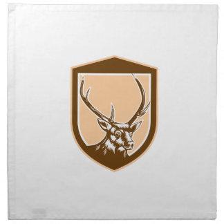 Deer Stag Buck Head Woodcut Shield Cloth Napkins