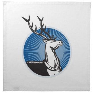 Deer Stag Buck Woodcut Retro Cloth Napkin