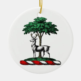 Deer Stag by Tree Heraldic Crest Emblem Ceramic Ornament