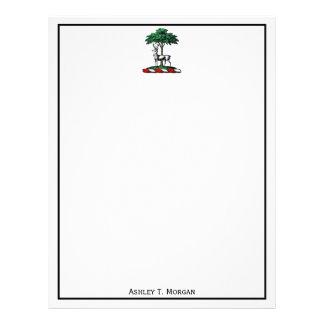 Deer Stag by Tree Heraldic Crest Emblem Letterhead