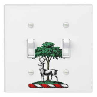 Deer Stag by Tree Heraldic Crest Emblem Light Switch Cover