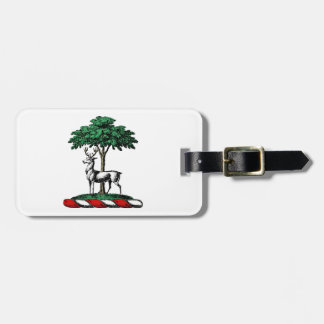 Deer Stag by Tree Heraldic Crest Emblem Luggage Tag