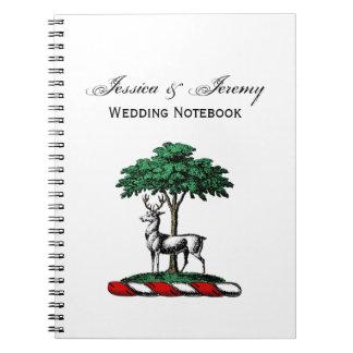 Deer Stag by Tree Heraldic Crest Emblem Notebooks
