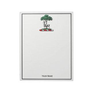Deer Stag by Tree Heraldic Crest Emblem Notepad