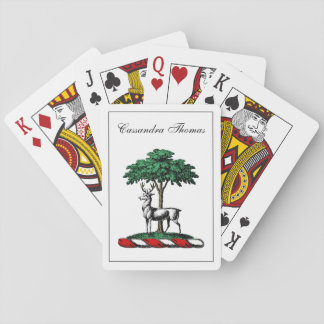 Deer Stag by Tree Heraldic Crest Emblem Playing Cards