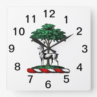 Deer Stag by Tree Heraldic Crest Emblem Square Wall Clock