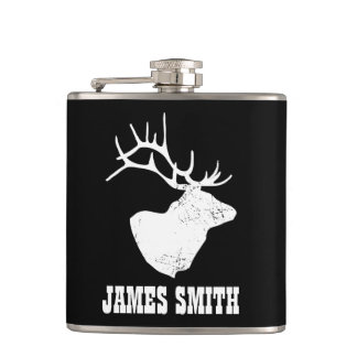 Deer / Stag Custom Name Hip Flask