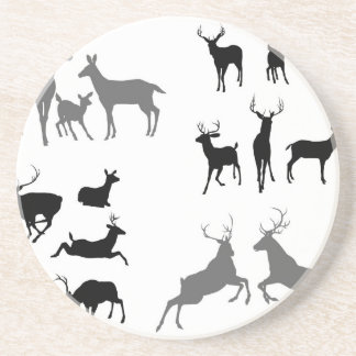 Deer stag fawn and doe silhouettes coaster
