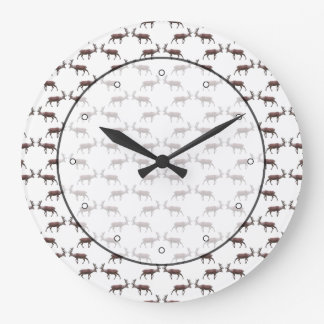 Deer Stag Pattern. Large Clock