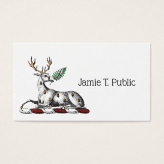 Deer Stag with Fern Heraldic Crest Emblem Business Card