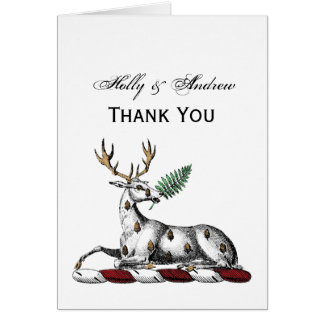 Deer Stag with Fern Heraldic Crest Emblem Card
