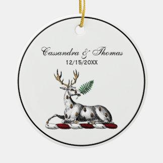 Deer Stag with Fern Heraldic Crest Emblem Ceramic Ornament