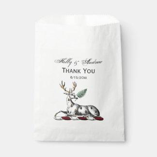 Deer Stag with Fern Heraldic Crest Emblem Favour Bag