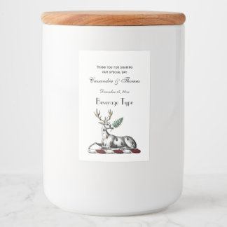 Deer Stag with Fern Heraldic Crest Emblem Food Label