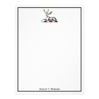 Deer Stag with Fern Heraldic Crest Emblem Letterhead