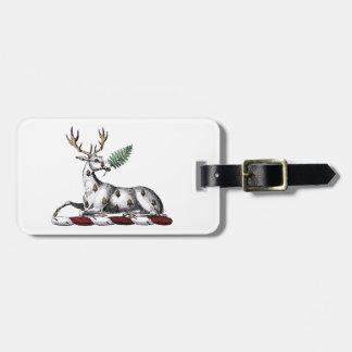 Deer Stag with Fern Heraldic Crest Emblem Luggage Tag