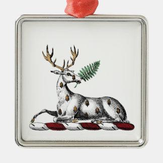 Deer Stag with Fern Heraldic Crest Emblem Metal Ornament