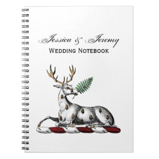 Deer Stag with Fern Heraldic Crest Emblem Notebook