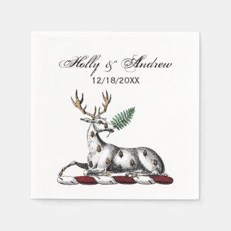 Deer Stag with Fern Heraldic Crest Emblem Paper Napkin