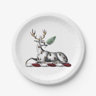 Deer Stag with Fern Heraldic Crest Emblem Paper Plate