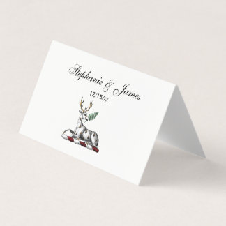 Deer Stag with Fern Heraldic Crest Emblem Place Card
