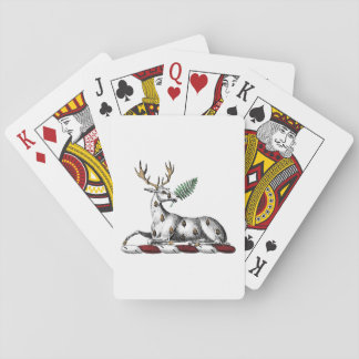 Deer Stag with Fern Heraldic Crest Emblem Playing Cards