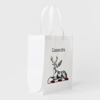 Deer Stag with Fern Heraldic Crest Emblem Reusable Grocery Bag
