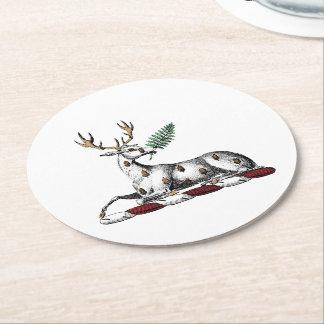 Deer Stag with Fern Heraldic Crest Emblem Round Paper Coaster
