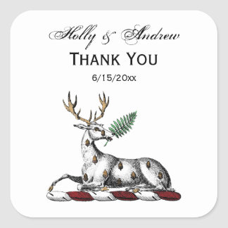 Deer Stag with Fern Heraldic Crest Emblem Square Sticker