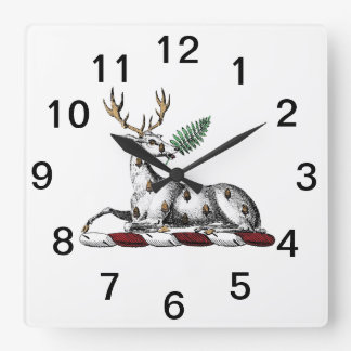 Deer Stag with Fern Heraldic Crest Emblem Square Wall Clock