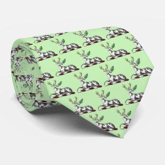 Deer Stag with Fern Heraldic Crest Emblem Tie