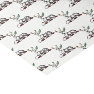Deer Stag with Fern Heraldic Crest Emblem Tissue Paper