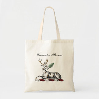 Deer Stag with Fern Heraldic Crest Emblem Tote Bag