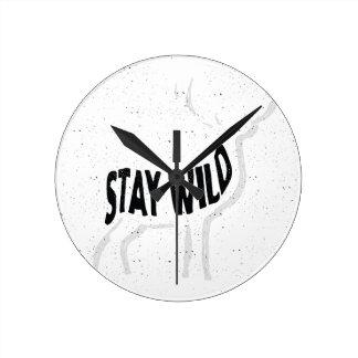 Deer - Stay wild Round Clock