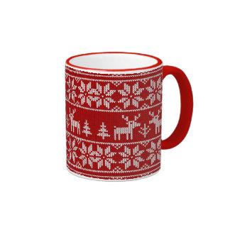 Deer Sweater Pattern Ringer Coffee Mug