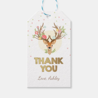 Deer thank you favor gift tag Woodland Pink Gold
