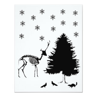 Deer Tree Snow Pigeons Chipmunk Card